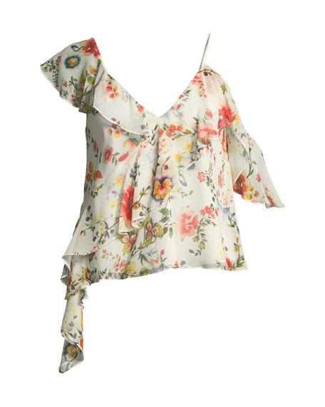 Paulina Asymmetric Floral-Print Silk Ruffle Tank