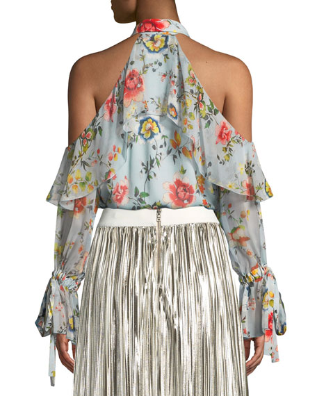 Blayne Cold-Shoulder Floral-Print Silk Blouse