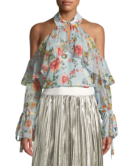 Alice + Olivia Blayne Cold-Shoulder Floral-Print Silk Blouse