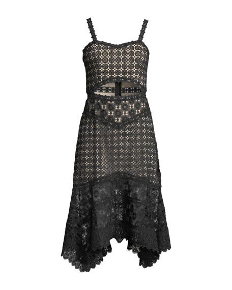 Tamika Cutout-Waist Lace Eyelet Handkerchief Dress