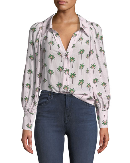 Salome Open-Neck Palm Tree Silk Blouse and Matching