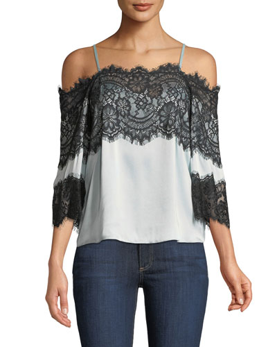 Oralia Cold-Shoulder Silk Blouse with Lace