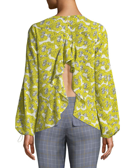 Dania Floral-Print Ruffle-Back Blouse