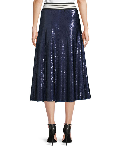 Sequin A-Line Midi Skirt