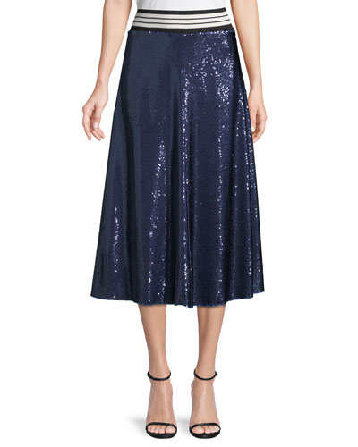 Sequin A-Line Midi Skirt