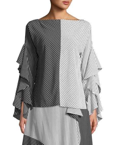 Colorblock Stripe Ruffled-Sleeves Top