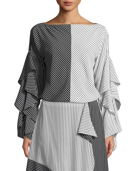 Robert Rodriguez Colorblock Stripe Ruffled-Sleeves Top