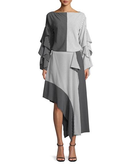 Asymmetric Colorblock Striped Skirt