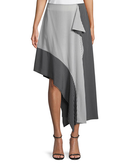 Asymmetric Colorblock Striped Skirt
