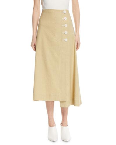 Flare Linen Midi Skirt