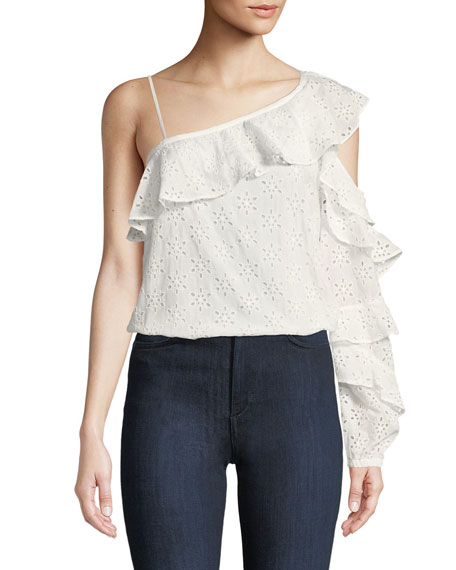 One-Shoulder Eyelet Cotton Ruffle Blouse