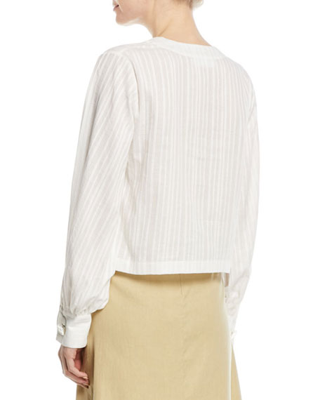 Long-Sleeve Tonal-Stripe Front Drape Cotton Blouse