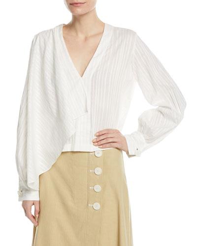 Long-Sleeve Tonal-Stripe Front Drape Cotton Blouse
