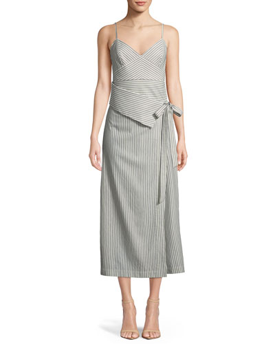 Faux-Wrap Stripe Silk Dress