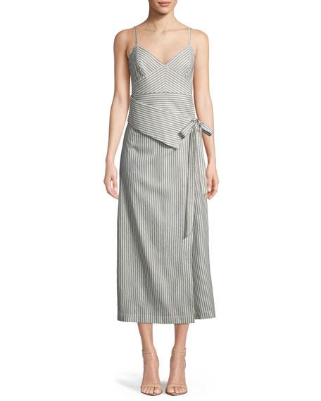 ROBERT RODRIGUEZ Stripe Wrap Front Midi Dress in Blue/ Ivory Stripe