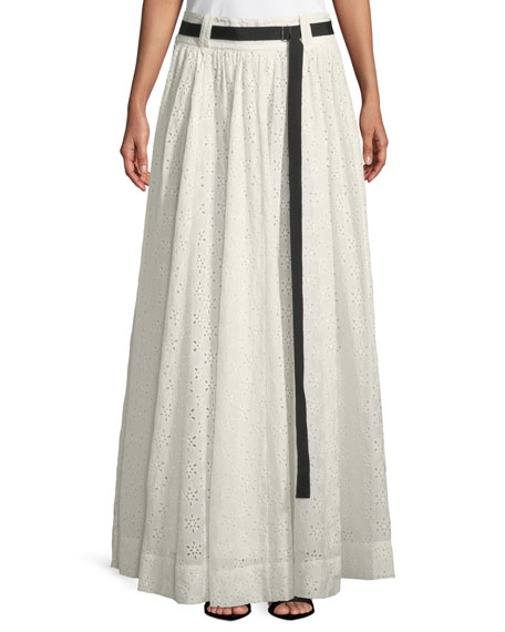 Long Eyelet Full A-Line Skirt