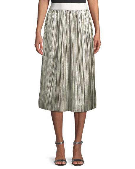 Alice + Olivia Mikaela Shiny Pleated A-Line Midi