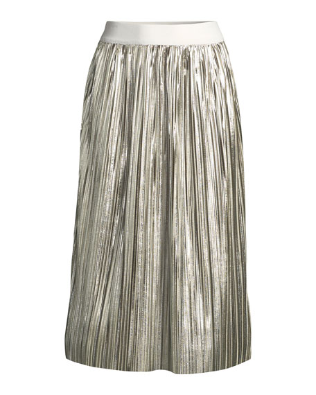Mikaela Shiny Pleated A-Line Midi Skirt