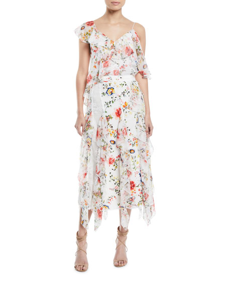 Yula Lace Godet Skirt with Floral-Print Ruffled Frills