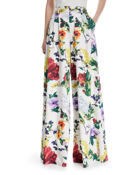 Dustin Super Flared Floral-Print Cotton Pants