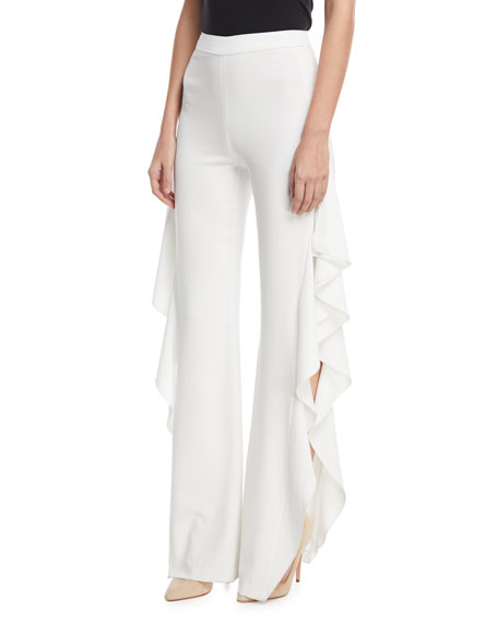 Estell Ruffle Slit Flared-Leg Pants