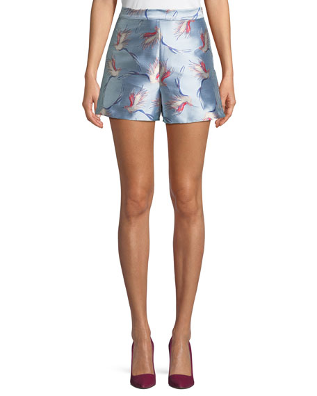 Heath High-Waist Bird-Print Satin Shorts