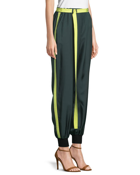 Belted Silk Track Pants
