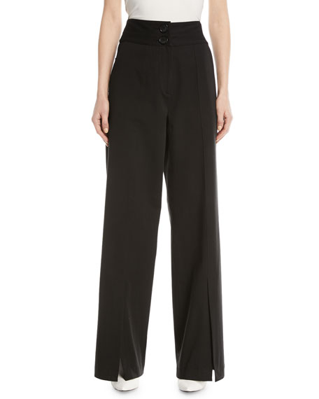 High-Waist Slit-Front Wide-Leg Pants