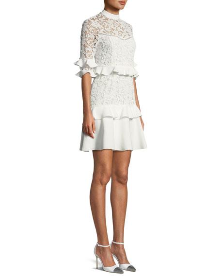 Janina Lace Ruffle Mini Dress