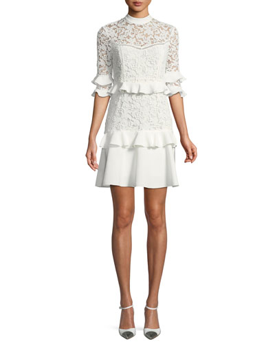 Janina Lace Ruffle Mini Dress