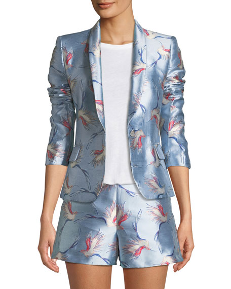 Alice + Olivia Macey One-Button Bird-Print Satin Jacket