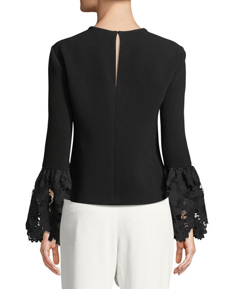 Emily Long-Sleeve Blouse with Lace Cuffs
