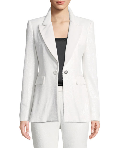 Amber One-Button Sequin Blazer
