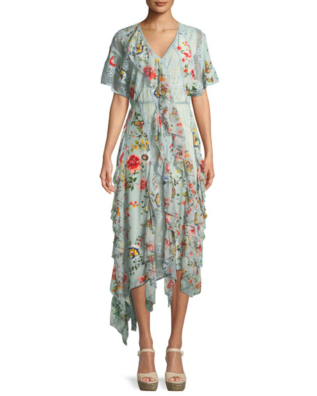 Kadence Short-Sleeve Floral-Print Lace Godet Dress w/ Ruffled Frills