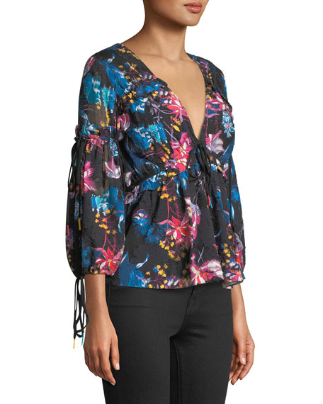 Becky Dutch Garden V-Neck Top w/ Ruffled Trim
