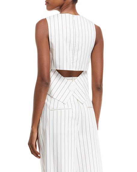 Sleeveless Stripe Sateen Top w/ Cutout Back