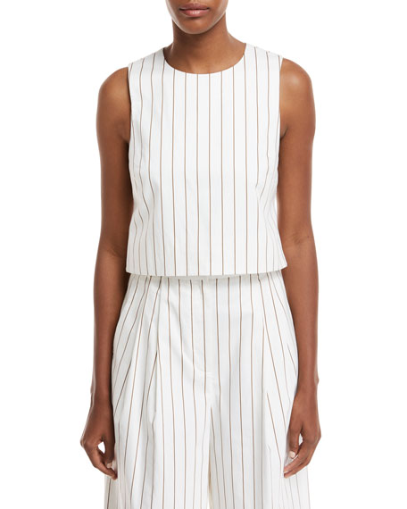 Sleeveless Stripe Sateen Top w/ Cutout Back