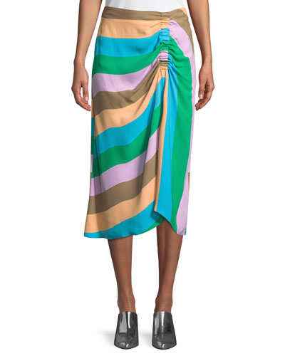 Striped Shirred Midi-Length Skirt
