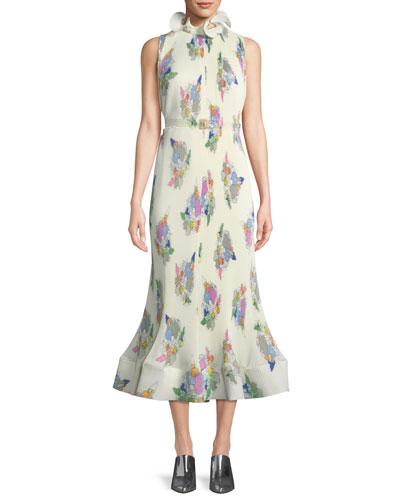 Camellia Sleeveless Pleated Floral-Print Dress