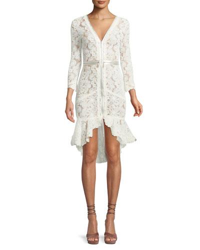 Parissa Lace Zip-Front High-Low Dress