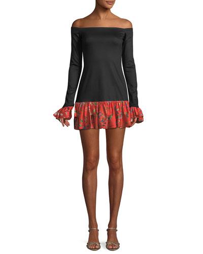 Estelle Off-the-Shoulder Flounce Mini Dress
