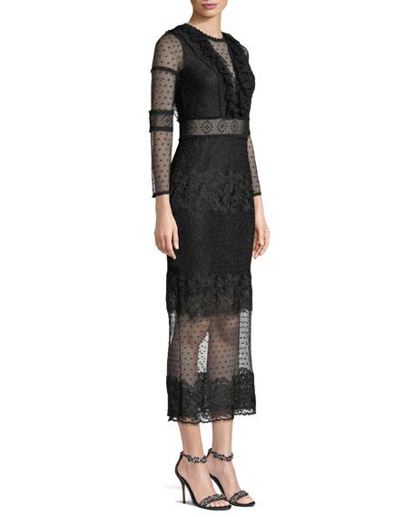 Elize Long-Sleeve Lace Midi Dress