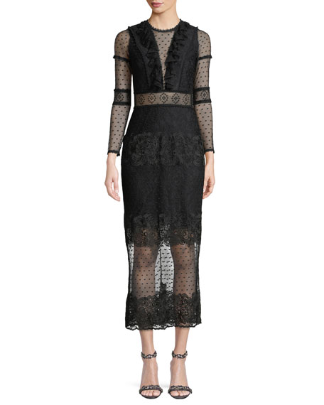 Alexis Elize Long-Sleeve Lace Midi Dress