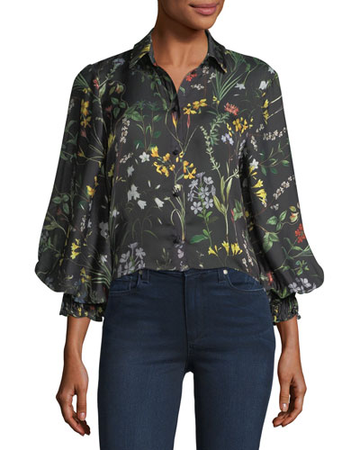 Dagna Button-Down Floral-Print Top