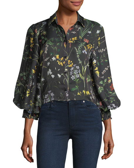 Alexis Dagna Button-Down Floral-Print Top