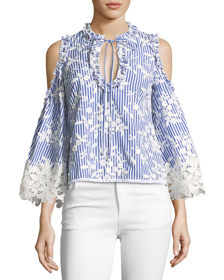 Alexis Clair Cold-Shoulder Striped Embroidered Top