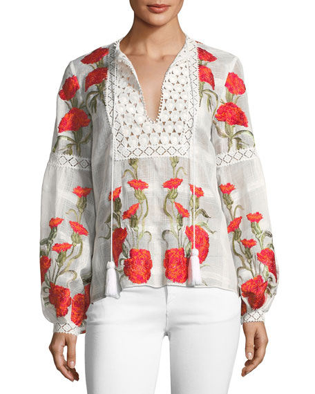 Dorit Split-Neck Long-Sleeve Floral-Embroidered Top