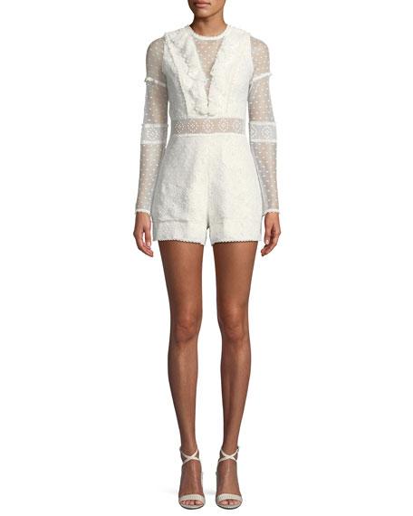 Luisa Long-Sleeve Ruffle Lace Romper in White