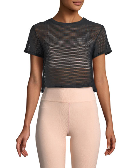 Koral Activewear Reggae Open Mesh Crop Top