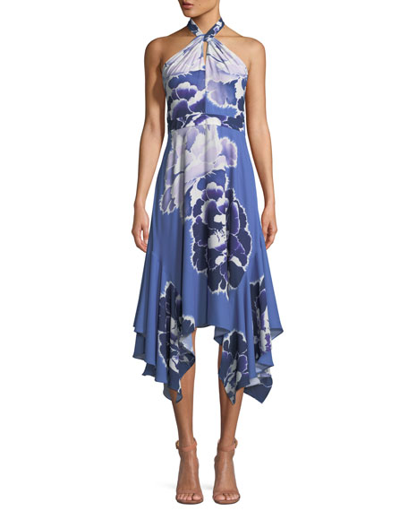 Josie Natori Floral-Print Halter Dress